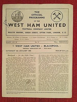 West Ham v Blackpool Programme, FA Cup 3rd Round, 4th January 1958