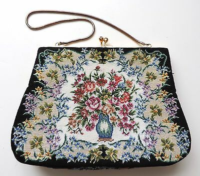 Vintage Floral Petit Point Needlepoint Tapestry Gold Chain & Frame Purse Bag