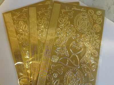 JOB LOT Embellishments 3 Sheets Gold Peel Offs Assorted CLEARANCE