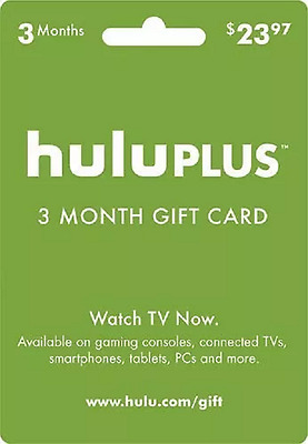 $23.97 Hulu Plus 3 Month Subscription - Card Sent Instantly!