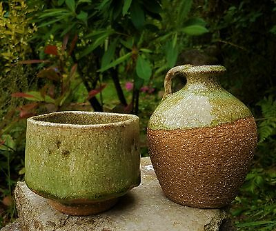 Studio Pottery.  Chawan and  Bottle...Wood Ash...Signed