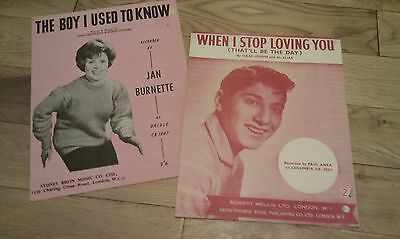 2 popular songs from late 50's early 60's sheet music