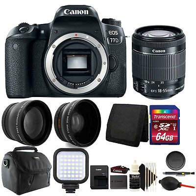 Canon EOS 77D 24.2MP DSLR Camera with + 18-55mm + 64GB Top Accessory Kit