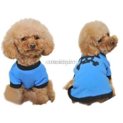 Pet Puppy Dog T-shirt Shirt Clothes Coat Black Skull Pattern Size M BLUE