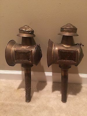 Pair of Vintage Antique Metal Signal Marine Lantern Light