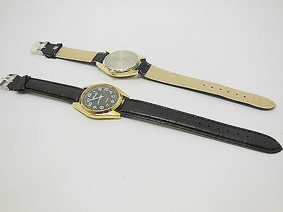 5 New Men's Black Leatherette Strap Wrist Watch