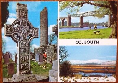 Old Postcard Co. LOUTH 1985 Multiview Celtic Cross Newtownards Postmark