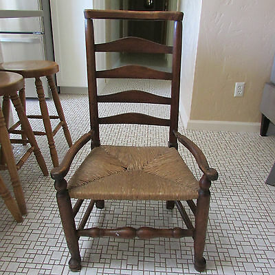 Antique Wood George III 5 Rail Ladderback Armchair Rush Seat Late 18th Century