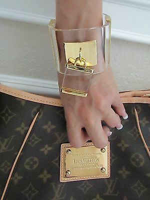 """Runway Massive Clear Lucite Padlock 2"""" Wide Statement Cuff Bracelet Large WOW"""
