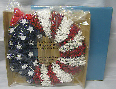 """NEW Avon Americana Wreath 10.5"""" NOS Independence Day Red White Blue 4th of July"""