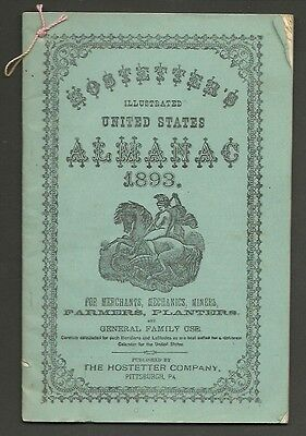 1893 HOSTETTER'S ILLUSTRATED UNITED STATES ALMANAC from ANTWERP, NY