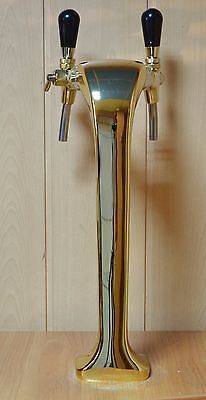 New! Beer Tap Faucet Draft  Double Lines Gold Tower Kegerator