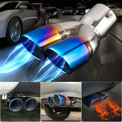 Car Dual Exhaust Tail Pipe Muffler Tip Bluing Chrome Stailess Steel Universal