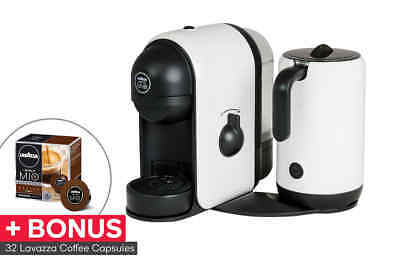 Lavazza Minu Caffe Latte Coffee Capsule Machine with Milk Frother +32 BONUS