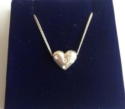 """925 SILVER HEART NECKLACE 16"""" 4.02g WITH CLEAR STONES- NOT SCRAP"""