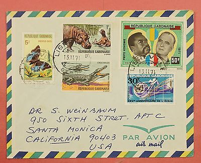 1971 Gabon Libreville Cancel Multi Franked Airmail Cover To Usa