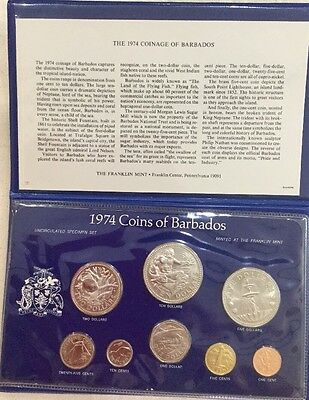1974 Barbados Proof 8 Coin Set Franklin Mint