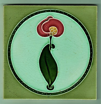 Tile With Majolica Molded Art Nouveau Design Alfred Meakin C1900-1907 6In. Sq.