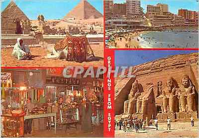 CPM Greetings From Egypt The Pyramids of Giza Stanly Beach Cairo Abu Simbel Rock