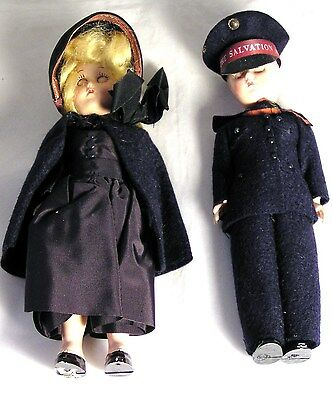 Salvation Army - ATTRACTIVE PAIR OS SALVATION ARMY MAN & LASSIE DOLLS