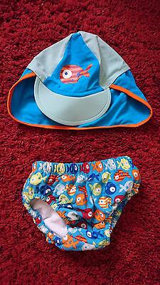 Mothercare Boys Blue Fish Print Swimming Pants and Hat Size Medium (0-6 months?)