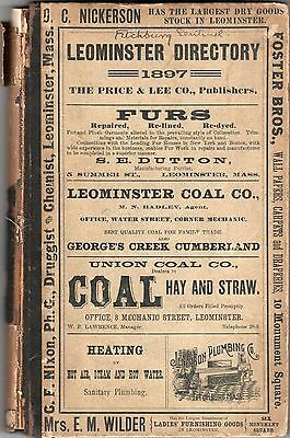 """Leominster, Massachusetts - 1897 Directory - includes foldout city map, 19""""x 21"""""""