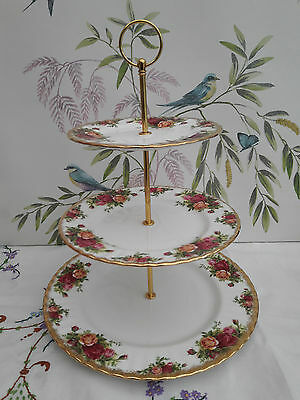 "Royal Albert Old Country Roses"" Extra Large size 3-tier cake stand"