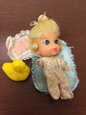 Mattel Baby LIDDLE Diddle KIDDLES Vintage Doll W/clothing,duck,pillow,blanket