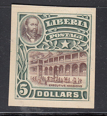 Liberia # 113 Green & Brown Color Trial on Card Executive Mansion (no gum)