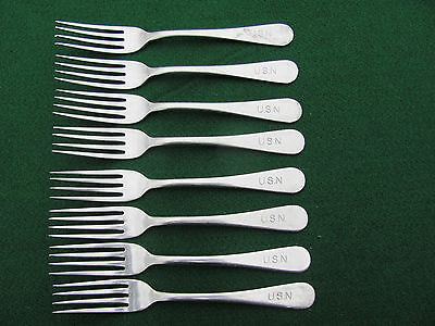 US Navy 8 Vintage U.S.N. SILCO Stainless Steel Dinner Forks