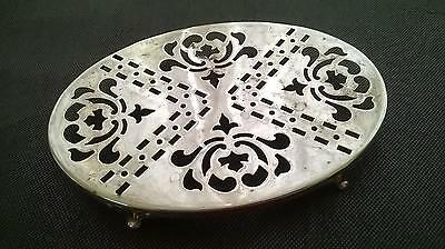Vintage Ornate Silver Plated Oval Teapot Stand on Four feet