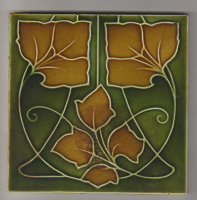 Tile Majolica Molded Art Nouveau Design George Wolliscroft & Son C.1905-1910