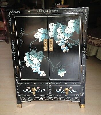 Vintage Oriental Small Black Lacquer Chest
