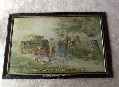 The Hickman Ebbert Co Apple Tree Farm Orchard Chicken Wagon Tin Advertising Sign
