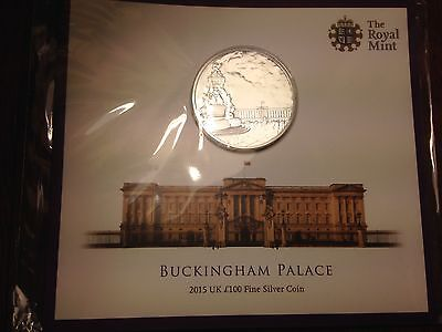 £100 One Hundred Pound Coin Buckingham Palace Fine Silver Limited Edition 2015