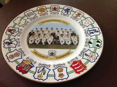 Coalport Bone China Collectors Plate - Nottinghamshire County  Champions 1981