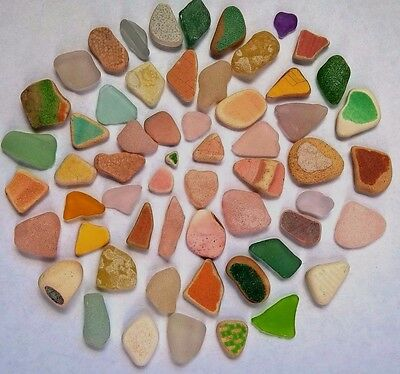 Vibrant Colors  BEACH SEA GLASS POTTERY 58 PENDANT Quality!  Surf-Tumbled