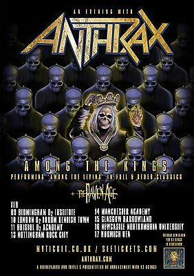 Anthrax Among The Kings British Tour 2017 Promo Poster