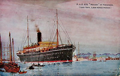 "1920s Art Colour Postcard, P&O S.S. "" Novara "", at Yokohama."