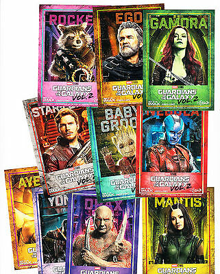 2017 Amc Imax Marvel Guardians Of The Galaxy 10 Card Set Ego Groot Star Lord