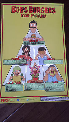 2014 Sdcc Comic Con Exclusive Fox Poster Bob's Burgers Food Pyramid Louise Gene