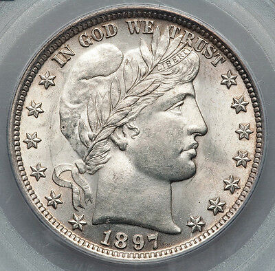 1897 Barber Half Dollar PCGS MS62_Very Choice, lightly toned