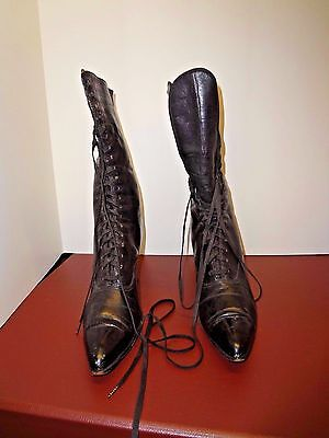 Vintage antique Victorian Edwardian Hallihan's black leather boot shoes SM