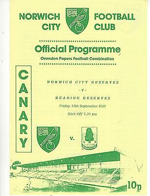 NORWICH CITY RESERVES v READING 90-1 Football Combination Programme