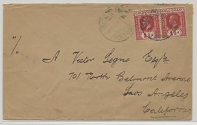 Gold Coast 1924 Cover to LA USA with King George V. 2x 1 1/2d MiNr 77