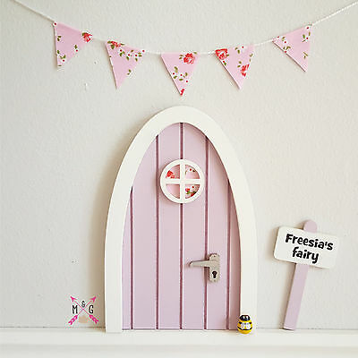 Fairy Door,Personalised Signpost Lilac with Pink Floral Fabric Miniature Bunting