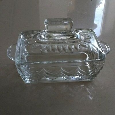 Vintage clear pressed glass butter dish and lid