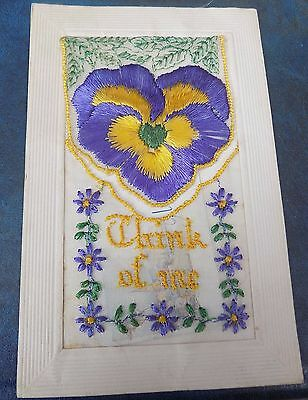"""Poignant Ww1 Embroidered French Silk Postcard """" Think Of Me """""""