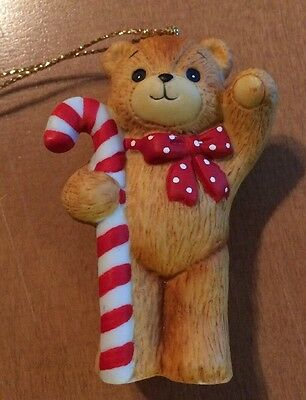Enesco Lucy And Me Bear With Candy Cane Ornament from 1982