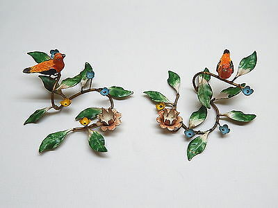 Pair Antique Italy Toleware Candle Holders w/ Flowers & Birds